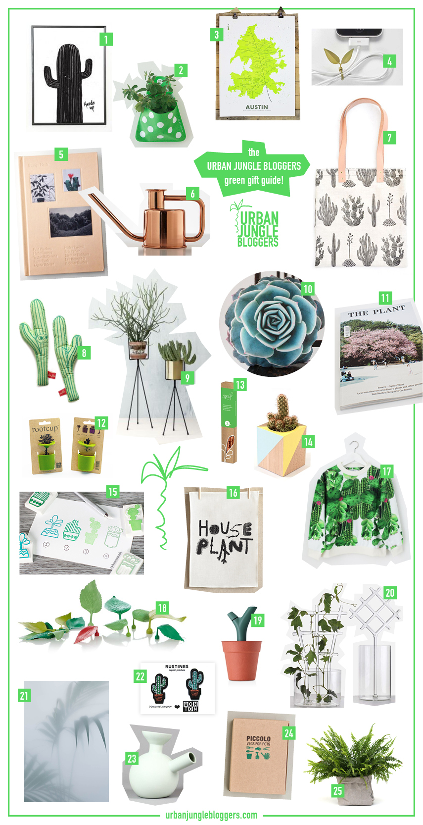 Urban Jungle Bloggers green gift guide