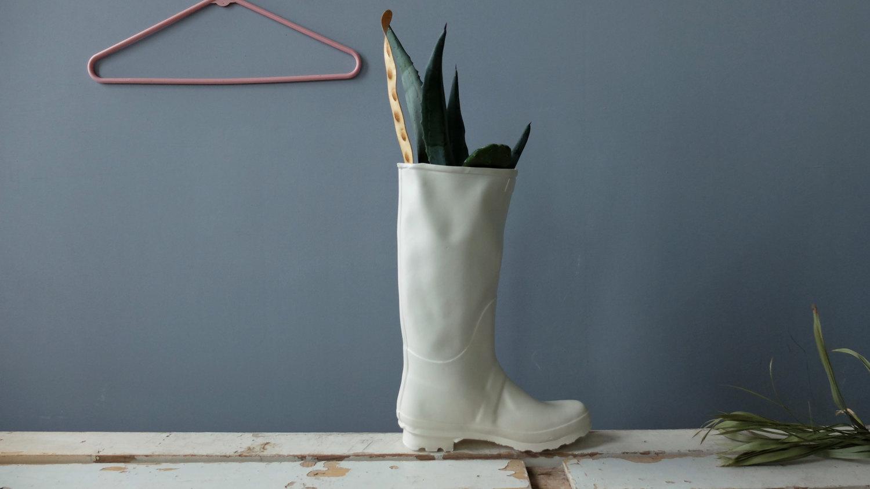 Rain boot vase