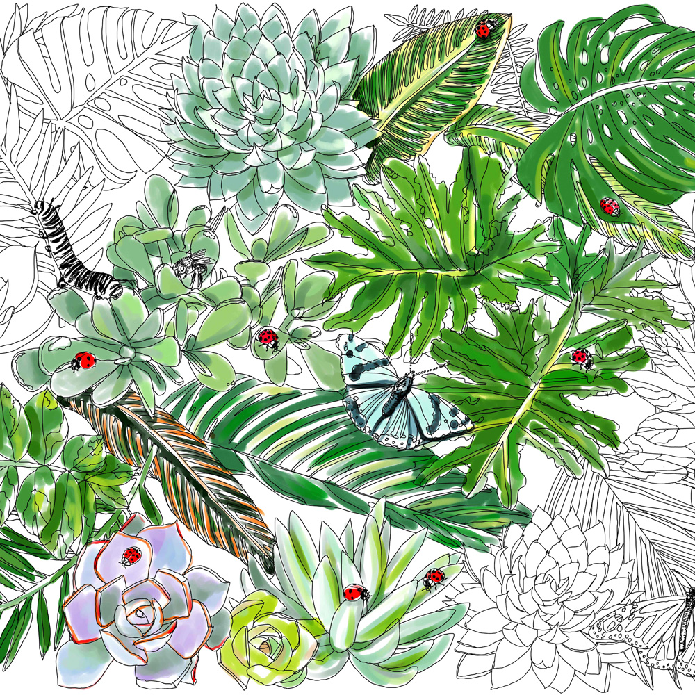 Urban Jungle Bloggers Coloring book Leafs Jessie Kanelos Weiner